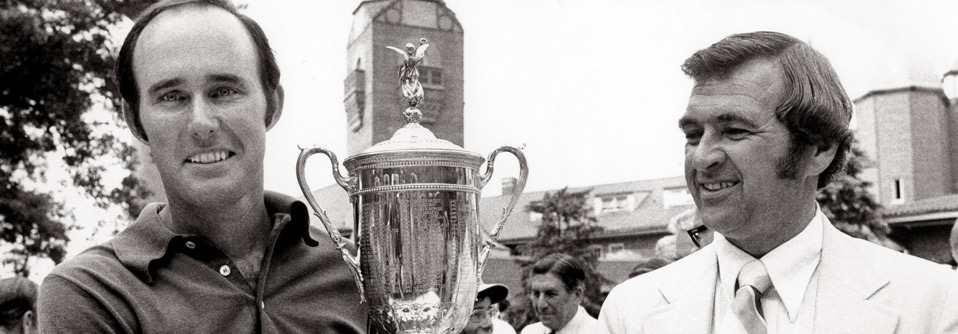Lou Graham holding the tophy after winning the 1975 U.S. Open at Medinah