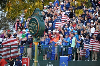 2012 Ryder Cup crowd holding their team's flags