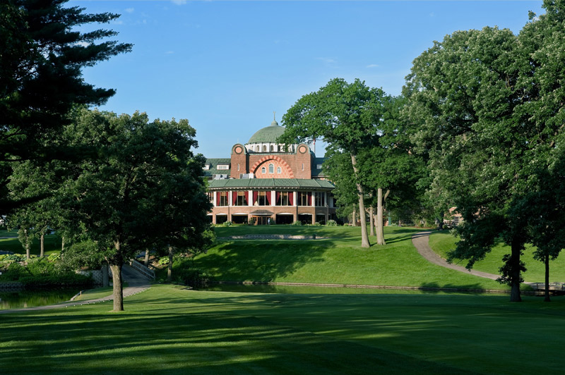 View of the backside of the Medinah Clubhouse from the course
