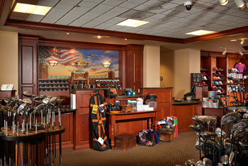 Golf clubs and products on display in the Medinah golf shop
