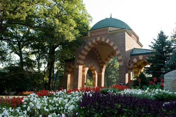 The grand entrance gate tower at Medinah
